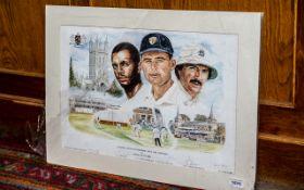 Cricket Interest - Signed Print 'Leading