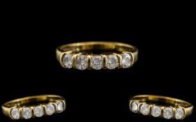 14ct Gold - Single Stone Diamond Ring. M