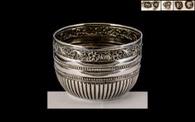 Victorian Period Wonderful and Ornate Quality Small Sterling Silver Bowl by Charles Stuart Harris.