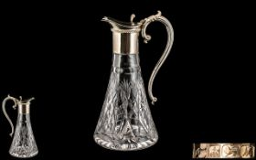 Mappin & Webb Superb Quality Sterling Silver and Cut Glass Claret Jug of Pleasing Form.