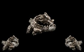 Silver Ring In The Form of a Dragon, the ring is wonderfully designed,