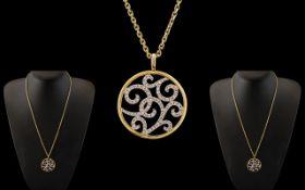 Ladies Attractive 18ct Two Tone Gold Diamond Set Circular Pendant of Exquisite Form / Design.