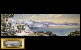 Charles Rowbotham 1856 - 1921 - Titled ' A View of Salerno From Vietri ' Panoramic View.