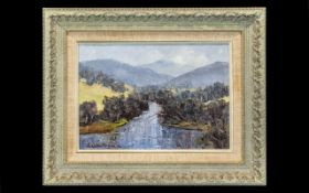 J. Colin Angus Oil on Board Titled 'The Upper Murray' 10 x 14 inches.