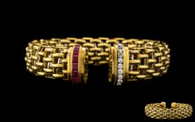 Italian Designer 18ct Two Tone Gold Bangle In a Basket Weave Design,
