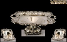 Elkington & Co Superb Sterling Silver Twin Heart Shaped Handle Ornate Pedestal Bowl with