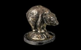 Antique Table Top Lighter In The Shape of a Performing Bear, rare Victorian novelty in cast silver