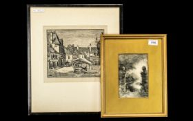Small Watercolour Drawing - Depicting a River Scene at Night, Signed Morris May, Framed and Glazed.