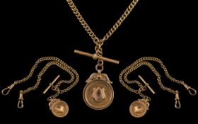 Antique Period Superb 9ct Gold Double Albert Watch Chain with T-Bar and Attached T-Bar. Every Link