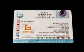 5.46 Ct Purple Natural Amethyst Quartz.GJSPC Certified.