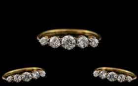 18ct Gold - Attractive 1920's 5 Stone Diamond Set Ring - In a Gallery Setting. The 5 Semi-Cut