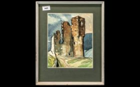 Abstract Watercolour of a Castle, well executed, contemporary watercolour of castle ruins,