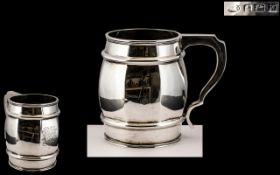 Superb Quality Early 20th Century Scarce Sterling Silver Tankard In the Form of a Barrel.