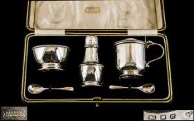 Harrod's - Sterling Silver Superior 3 Piece Cruet Set.