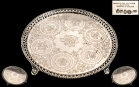 Goldsmiths Alliance Cornhill London Superb Quality Ornate Sterling Silver Circular Footed Tray of