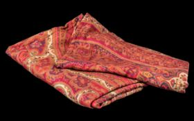 Large Paisley Pattern Shawl, measures 100 x 220 cm, in beautiful shades of pink, blue and cream.