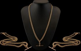 Edwardian Period Superb 9ct Gold Double Albert Chain with Attached T-Bar of Long Length.