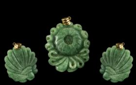14ct Gold Mounted Green Jade Amulet / Pendant of Pleasing Proportions / Design. Marked 14ct.