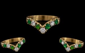 18ct Gold - Attractive Diamond and Emerald Set Wishbone of Superb Quality. The Diamonds and Emeralds