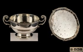 A Silver Salver 9 inch in diameter with pie crust Gadrooned edge,