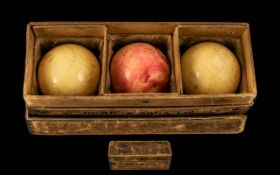 Large Ivory Billiard Balls in Original Box by Orme & Sons Ltd, a company 'By Royal Appointment';