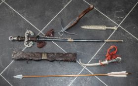 Collection of Decorative Weaponry comprising daggers, swords, crossbow, arrows etc.