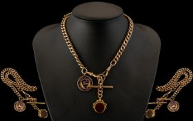 Edwardian Period - Nice Quality 9ct Rose Gold Albert Chain with Attached T-Bar,