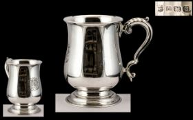1930's Superb Quality Sterling Silver Tankard of Large Proportion and Solid SIlver Gauge.