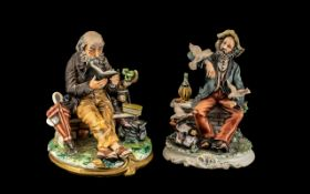 """Two Capodimonte Figures, depicting a tramp feeding birds, 10"""" high,"""