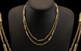 Ladies or Gents Quality 9ct Gold Long Chain, Block and Double Rope Link Design. Fully Hallmarked for