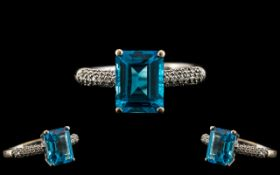 18ct Gold - Superb and Attractive Aquamarine and Diamond Set Dress Ring.