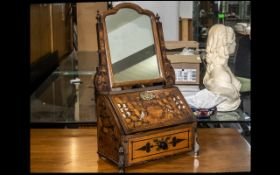 Dutch 18th Century Toilet Mirror, an 18thC marquetry inlaid toilet mirror with later 19thC