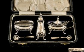1930's Boxed ( 3 ) Piece Silver Cruet Set with Pair of Salt Spoons.