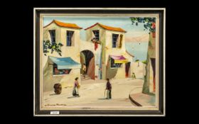 Modern Oil Painting on Board of a Spanish Village Street Scene with Figures. SIgned Vernon Henri.