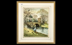 Signed Watercolour Painting in Frame, a well painted watercolour showing a man fishing by a river,