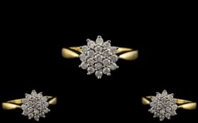 18ct Gold - Attractive Diamond Set Cluster Ring - Flower head Setting. Diamond Weight 0.50 pts