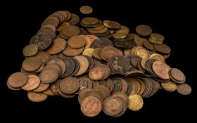 Large Selection of English Copper Pennies, Half Pennies, Threepences and Farthings.