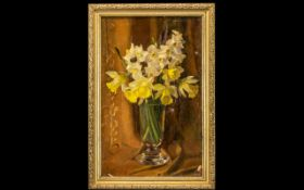Oil on Canvas Still Life of a glass vase with flowers,