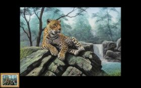 Peter Jepson Original Watercolour drawing titled Empress depicting a majestic Cheetah sitting on a