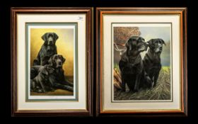 Two Limited Edition Signed Prints of Black Labrador Dogs,