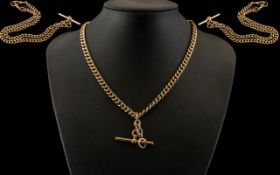 Victorian Period Superb Quality 9ct Gold Double Albert Watch Chain with T-Bar. All Links Stamped 9.