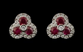 Ladies - Attractive Pair of 9ct White Gold Diamond and Ruby Set Earrings, In a Shamrock Design.