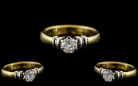 18ct Two Tone Gold Contemporary Design Single Stone Diamond Ring. Full Hallmark for 750 - 18ct.