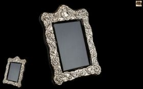 Large Mappin & Webb Silver Photo Frame, large frame with ornate decoration and vacant cartouche,
