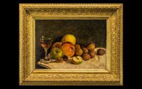 Oil on Panel Still Life of Fruit signed E Cawthorne 1837.
