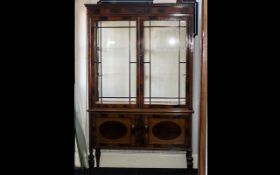 Fine Quality Edwardian Style Mahogany Double Doon Display Cabinet with Two Glass Shelves with