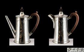 Elizabeth II Superior Quality ( Thick Gauge ) Planished Sterling Silver Matched Coffee Pot and