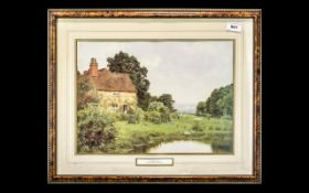 "Framed Print of Scammels Farm by Edward W Waite (1878-1927) measures 21"" x 17""."