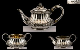 George IV Superb Quality Three Piece Sterling Silver Tea Set of wonderful proportion and design by
