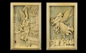 French 19th Century Superb Quality Pair of Dieppe Ivory Carvings - Titled ' Night and Day ' After